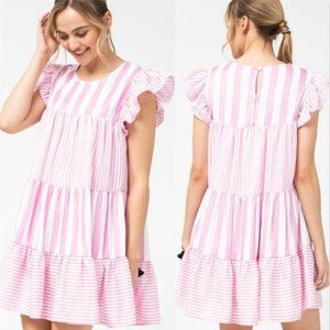 BABYDOLL PINK STRIPES DRESS
